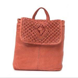 Frye Esme Straw & Leather Backpack Paprika